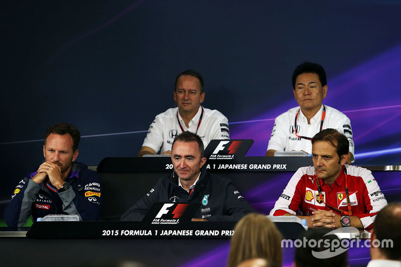 The FIA Press Conference: Jonathan Neale, McLaren Chief Operating Officer, Yasuhisa Arai, Honda Motorsport Chief Officer, Christian Horner, Red Bull Racing Team Principal, Paddy Lowe, Mercedes AMG F1 Executive Director, Luigi Fraboni, Ferrari Head of Engine Trackside Operations