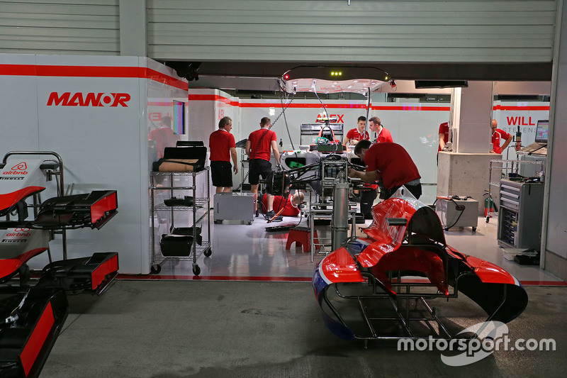 The Manor Marussia F1 Team pit garages at night