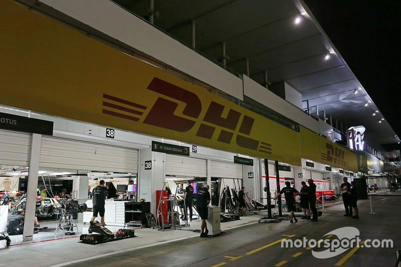 The Lotus F1 Team pit garages at night