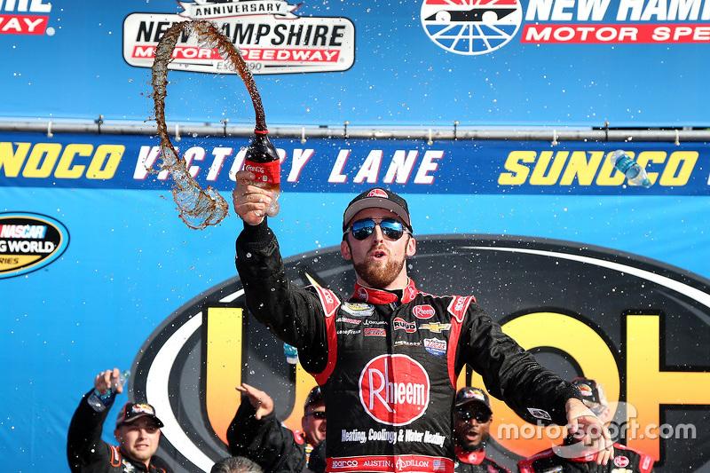 Race winner Austin Dillon celebrates