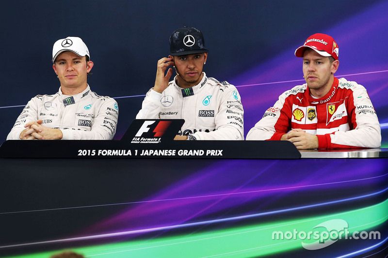 Lewis Hamilton, Mercedes AMG F1 Team, Nico Rosberg, Mercedes AMG F1 Team e Sebastian Vettel, Ferrari
