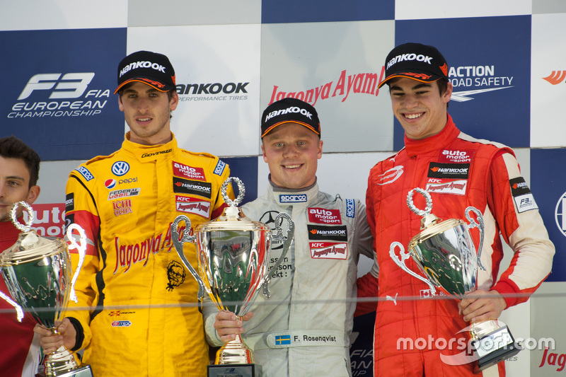 Podium: winner Felix Rosenqvist, Prema Powerteam, second place Antonio Giovinazzi, Jagonya Ayam with Carlin, third place Lance Stroll, Prema Powerteam