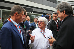 (L to R): Dmitry Kozak, Russian Deputy Prime Minister with Bernie Ecclestone, and Pasquale Lattuneddu, of the FOM