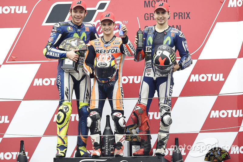Podium: race winner Dani Pedrosa, Repsol Honda Team, second place Valentino Rossi, Yamaha Factory Ra