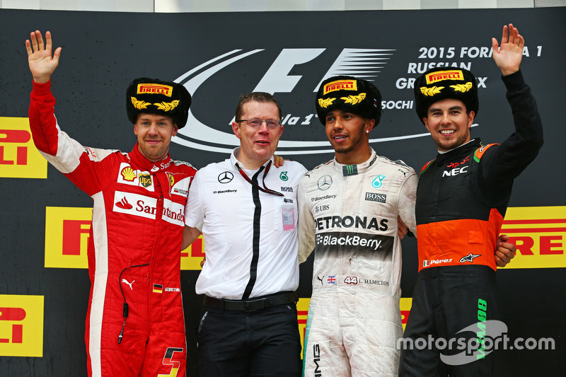 Podium: second place Sebastian Vettel, Ferrari and winner Lewis Hamilton, Mercedes AMG F1 and third