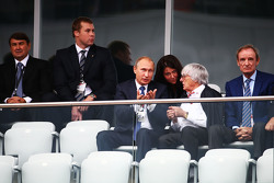 (L to R): Vladimir Putin, Russian Federation President with Bernie Ecclestone,
