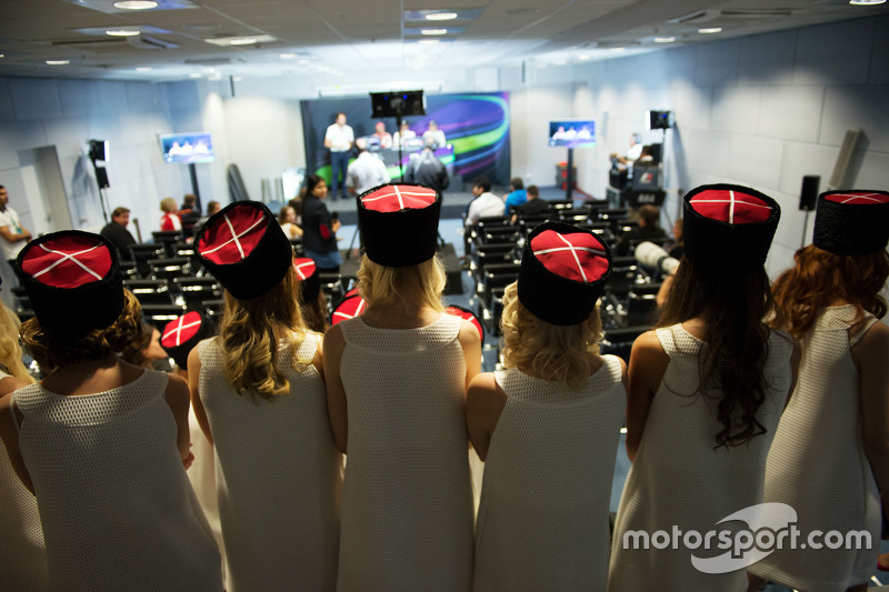 Grid girls in the FIA Press Conference