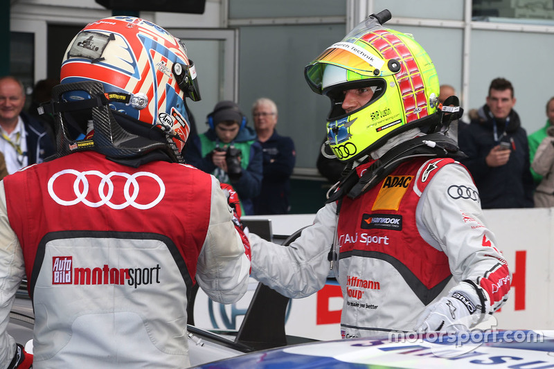 Race winner Timo Scheider, Audi Sport Team Phoenix Audi RS 5 DTM, second place Jamie Green, Audi Spo