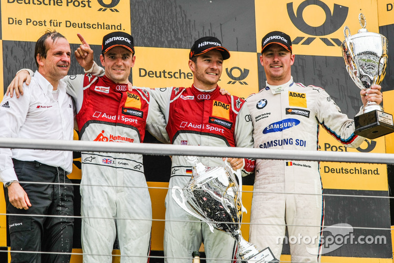 Podium, Jamie Green, Winner, Timo Scheider , Audi Sport Team Phoenix Audi RS 5 DTM and Maxime Martin , BMW Team RMG BMW M4 DTM