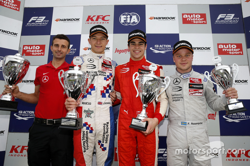 Race 1 Podium: second place Jake Dennis and winner Lance Stroll and third place Felix Rosenqvist, Prema Powerteam