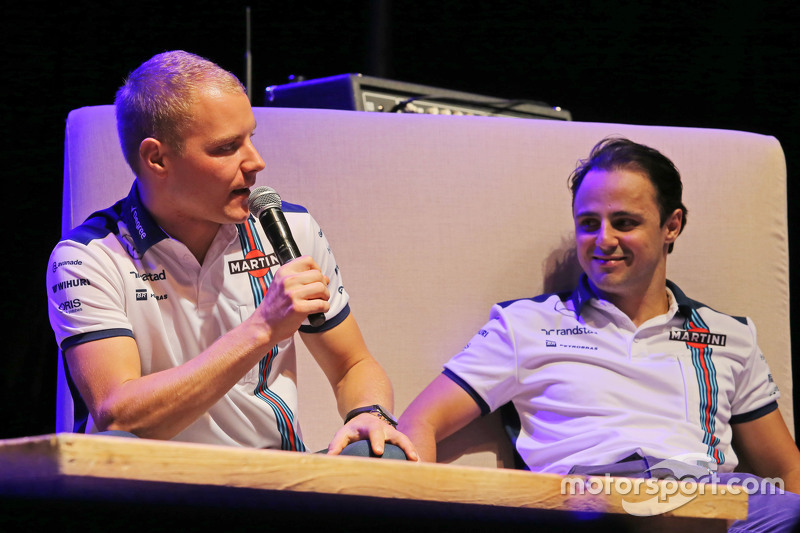 (L to R): Valtteri Bottas, Williams and team mate Felipe Massa, Williams at the Fans' Forum