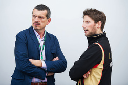 (L to R): Guenther Steiner, Haas F1 Team Principal with Romain Grosjean, Lotus F1 Team