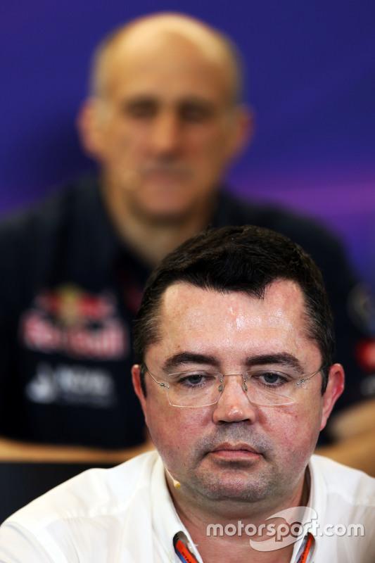Eric Boullier, McLaren Racing Director in de FIA persconferentie