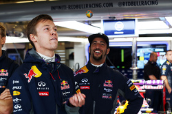 (L to R): Daniil Kvyat, Red Bull Racing with Christian Horner, Red Bull Racing Team Principal