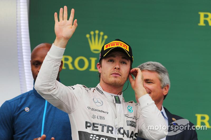 Podium: Nico Rosberg, Mercedes AMG F1 celebrates his second position on the podium
