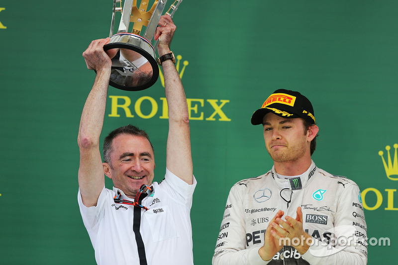 Podium: Paddy Lowe, Mercedes AMG F1 Executive Director celebrates on the podium with Nico Rosberg, Mercedes AMG F2