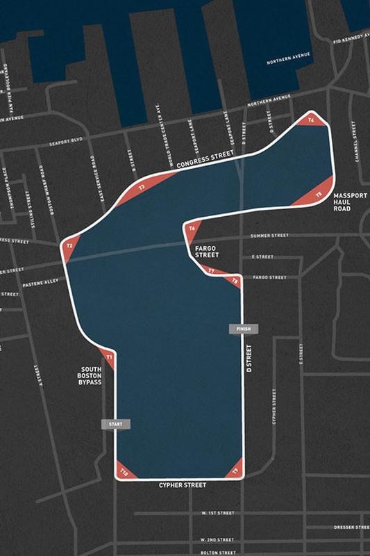 Mapa do traçado de Boston da Indy