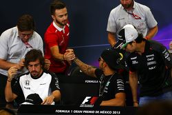 Will Stevens, Manor Marussia F1 Team and Lewis Hamilton, Mercedes AMG F1 in the FIA Press Conference