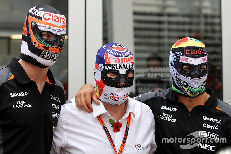 Nico Hülkenberg, Sahara Force India, mit Nigel Mansell und Sergio Perez, Sahara Force India