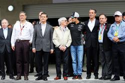 Jean Todt, Presidente de la FIA; Enrique Peña Nieto, Presidente de México; Bernie Ecclestone, Sahara Force India F1; Carlos Slim Domit, Presidente de América móvil