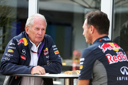 Dr. Helmut Marko, Red Bull Motorsport Consultant met Christian Horner, Red Bull Racing teambaas