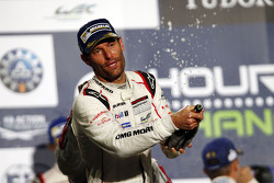 Podium: winners Mark Webber celebrates with Champagne