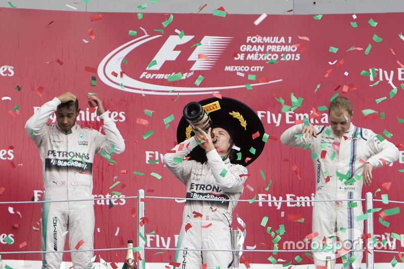 Podium: Winner, Nico Rosberg, Mercedes AMG F1, Second place, Lewis Hamilton Mercedes AMG F1 and the third place, Valtteri Bottas Williams F1 Team