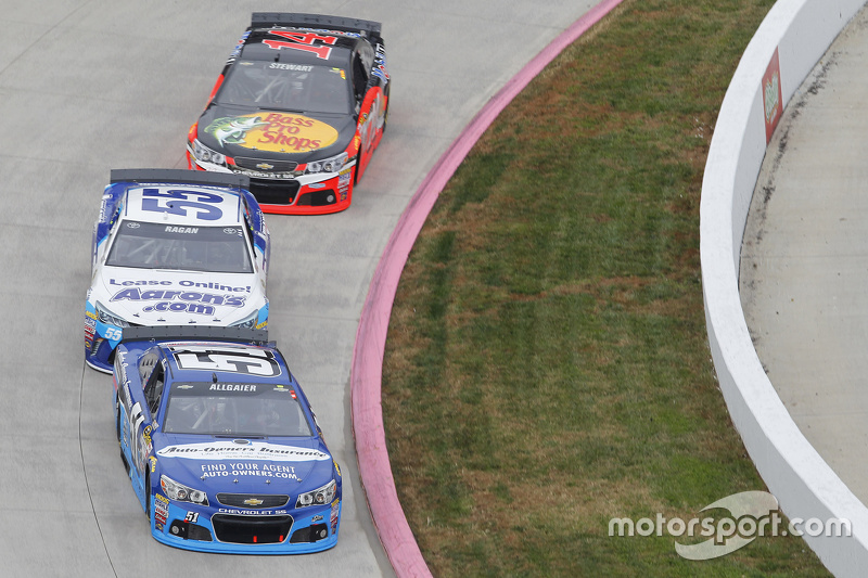 Justin Allgaier, HScott Motorsports Chevrolet; David Ragan, Michael Waltrip Racing Toyota; Tony Stew