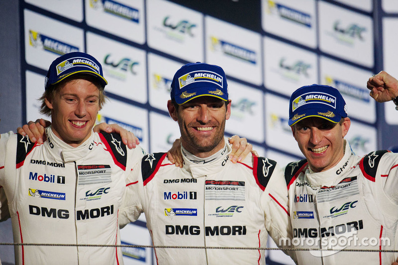 Podium: race winners Timo Bernhard, Mark Webber, Brendon Hartley, Porsche Team
