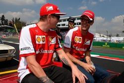 Kimi Raikkonen, Ferrari en Sebastian Vettel, Ferrari