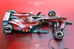 Ein mögliches zukünftiges Formel-1-Design mit halbgeschlossenem Cockpit