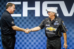 General Motors U.S. Vice President Performance Vehicles and Motorsports Jim Campbell with John Force