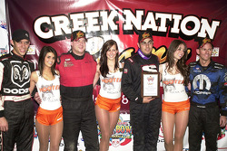 The top four finishers in the Creek Nation Casino Qualifying Showdown: Bryan Clauson (fourth), Aaron Fiscus (second), Josh Ford (first) and Jerry Coons Jr. (third)