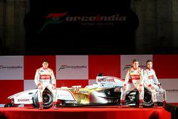 Adrian Sutil, Giancarlo Fisichella and Vitantonio Liuzzi