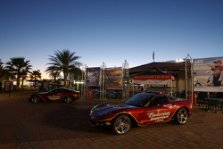 The Budweiser Shootout Corvette pace cars sit alone in the Fan Zone as qualifying day ends
