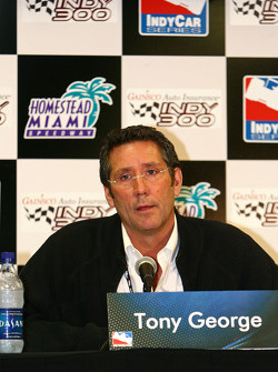 Tony George takes questions from the media