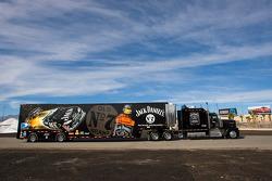 The Jack Daniels team hauler makes its' way into the Las Vegas Motor Speedway