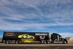 The Menards team hauler makes its' way into the Las Vegas Motor Speedway