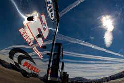The Miller Lite team hauler makes its' way into the Las Vegas Motor Speedway