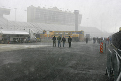 A rare snow event halts the mornings activities at Atlanta Motor Speedway