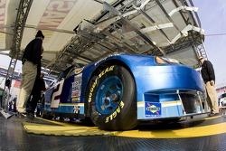 Kurt Busch's #2 Miller Light Dodge makes its way thru inspection