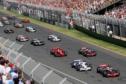 Start, Lewis Hamilton, McLaren Mercedes, MP4-23 leads Robert Kubica, BMW Sauber F1 Team, F1.08 and Heikki Kovalainen, McLaren Mercedes, MP4-23