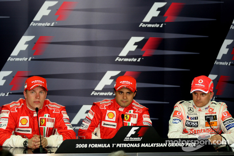 Press conference: pole winner Felipe Massa, second place Kimi Raikkonen, third place Heikki Kovalainen