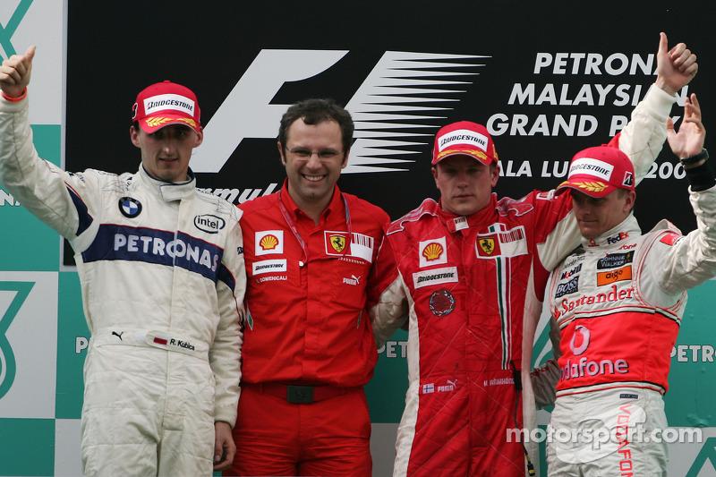 2008 1. Kimi Raikkonen, 2. Robert Kubica , 3.Heikki Kovalainen