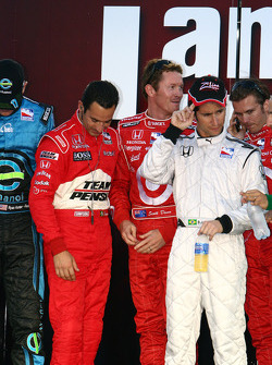 Helio Castroneves, Scott Dixon and Bruno Junqueira