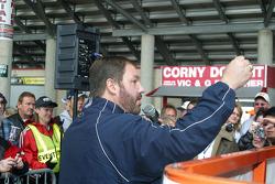 Eddie Gossage works the crowd at Texas Motor Speedway