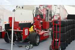 Car of Dan Wheldon is unloaded