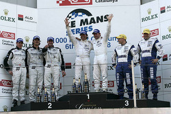 LMP2 podium: class winners Jos Verstappen and Peter Van Merksteijn, second place Xavier Pompidou, Steve Zacchia and Andrea Belicchi, third place Casper Elgaard and John Nielsen