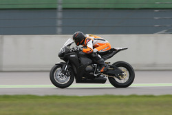 Michael Schumacher rides a bike in a training organised by BikePromotion