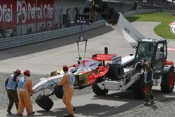 Giancarlo Fisichella, Force India F1 Team, VJM-01 crashes over the top of Kazuki Nakajima, Williams F1 Team, FW30
